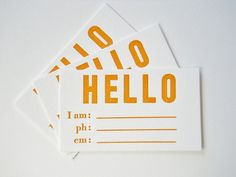 Hello  Set of 10 Letterpress Printed Calling Cards by BremeloPress, $12.50