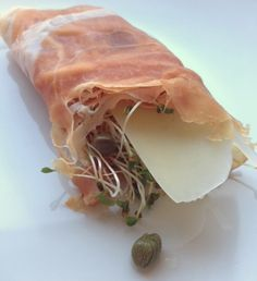 Low Carb Snack - Prosciutto Wrap with Asiago Cheese, Capers, Alfalfa Sprouts and Lemon