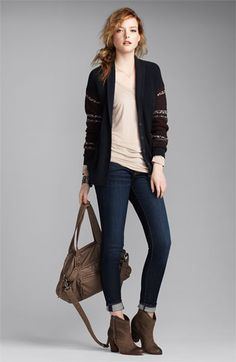looks like a super chill/comfy outfit! Rubbish® Cardigan & Vigoss Jeans   Nordstrom