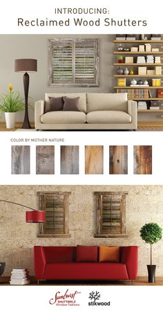 Built in partnership with these perfectly handcrafted shutters are made from rustic reclaimed wood from aged buildings and fences across America. The wood is gorgeous with a color and finish only Mother Nature can provide. Shutter Colors, Rustic Room, Wood Shutters, Window Styles, Joanna Gaines, Fences, My Dream Home, Mother Nature, Home Remodeling