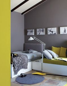 Grey and yellow combines neutrals with luminous brights for a beautifully dramatic finish. Plascon Paint Colours, Grey Paint Colors, Wall Colors, Living Room Colors, Living Room Grey, Home And Living, Office Color Schemes, Room Color Schemes, Outside House Paint