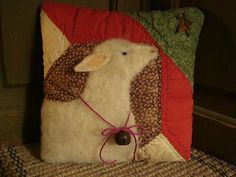 Primitive Sheep On Antique Quilt Pillow