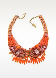 Rada Orange Crystal and Bead Choker Necklace