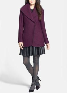 This plum wool shawl collar coat is on trend for fall.