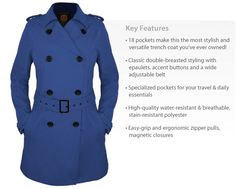 SCOTTEVEST Women's Trench Coat: Our Styleosophy: flatter your form and maintain high function in the SeV Women's Trench  Designed with a twist on the classic, it's fashion forward with a great cut, accent buttons, adjustable belt and the 18 pockets make it the most useful trench coat ever.  Cruise around town or around the globe hands free (and without lugging a heavy purse on your shoulder). $150.00