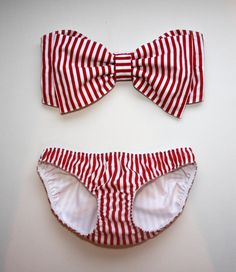 Striped bandeau bow bikini - need this for summer!