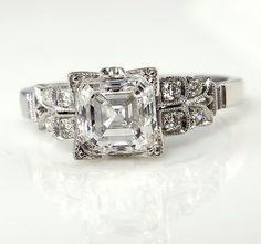 COLORLESS Art Deco 1.76ctw Square Emerald, Asscher Cut Diamond Engagement Vintage Platinum Ring EGL USA by Sofia D , Circa 1920
