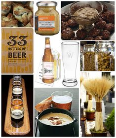 Fun beer birthday party decor and food ideas. Centerpieces: Jars of barley, hops, etc. Jars of flavored mustards with homemade soft pretzels, etc.