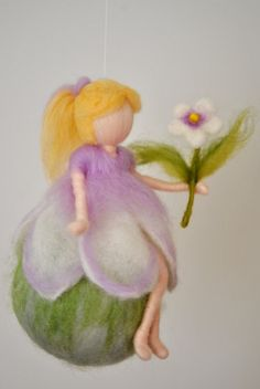 Girls room decoration waldorf inspired : wall hanging purple fairy with flower