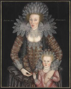 Portrait of Frances Marbury (d. 1634), aged 27, with her daughter, aged 4.  English School, 1613  oil on panel   39¼ x 30¾ in. (99.6 x 78 cm.) She was the daughter of Sir Nicholas Trot of Quickshot, Hertfordshire; her 1st husband was William Merbury or Marbury Esq. of Merbury; her 2nd was Sir Peter Brooke of Mere Hall.