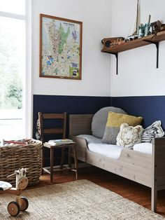 Gender Neutral Kids Room + Blue and White Wall