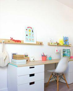 bureau ikea stuva children's art area, IKEA hacks for kids, colourful desk.