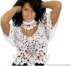 Uncinetto d'oro: Bellissima maglietta bianca di pizzo!!!
