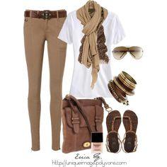 Tan pants, white t-shirt, tan scarf