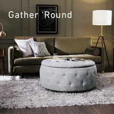 Roya OttomanWith a neutral, African gray finish and lovely tufting throughout, this multifunctional five-piece ottoman set is both stylish and practical. The circular lid can be placed with the tufting up to act as a Living Room Sofa Design, Ottoman In Living Room, Living Room Designs, Table For Living Room, Home Decor Furniture, Living Room Furniture, Furniture Design, Ottoman Decor, Ottoman Table