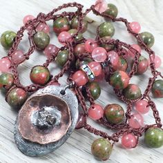 Crochet Bohemian Necklace Rustic Country Boho Chic Gypsy Style Long Necklace Pink Green Gemstone Artisan Jewelry Original by Kyleemae Design by kyleemaedesigns on Etsy