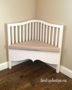 Karen and Bob at The Salvaged Boutique rescue a broken baby crib from garbage day and build a sophisticated upcycled corner bench. Crib Bench, Headboard Benches, Crib Desk, Furniture Projects, Furniture Makeover, Diy Furniture, Unique Furniture, Crib Makeover, Old Cribs