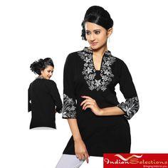 Women's Georgette Black Embroidered Neckline Kurti/ Tuni (India)