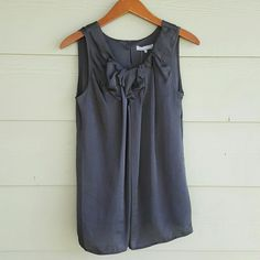 ✨HP✨ VIOLET & CLAIRE ruffle tank Dark gray flowy tank. Cute little ruffles at top, key hole with button closure in back. Nice and flowy. Brand new with tags.  100% polyester. Violet & Claire Tops Tank Tops