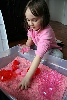 Valentine's Day Sensory Table. Guess I need to hit up the dollar spot at Target!