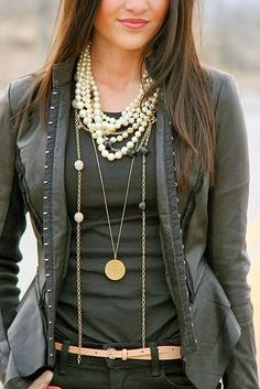 Elegent Jacket With Layer Necklace