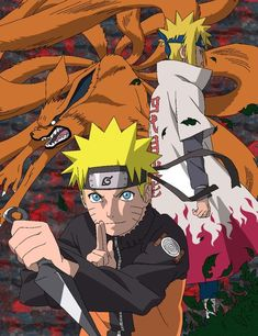 Naruto, Minato and Kyuubi - Lineart colored by DennisStelly on deviantART