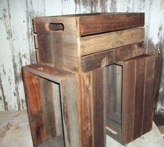 Antique Primitive Reclaimed Wood BarnWood Crates Shelf Rustic Urban Decor Wooden