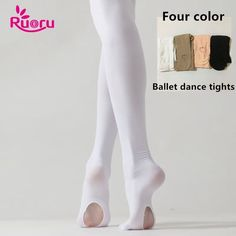 95924aee19d13 Ruoru Professional Kids Children Girls Ballet Tights White Ballet Dance  Leggings Pantyhose with Hole Nude Black Pink Stocking.