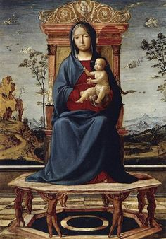 Lorenzo Costa il Vecchio (Italian 1460, Ferrara - 1535, Mantova) Virgin and Child Enthroned, c. 1495 Oil on panel, 50 x 37 cm Museo Thyssen-Bornemisza, Madrid