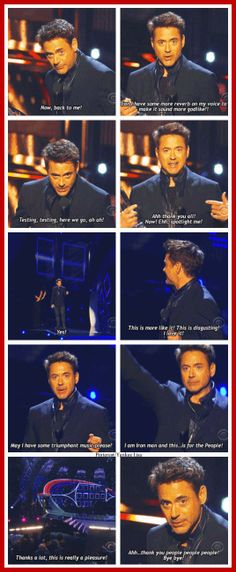 Robert Downey Jr.'s acceptance speech at the 2014 People's Choice Awards. - In typical Tony Stark fashion.