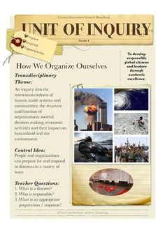 HWOO Unit Overview Grade 4 PYP unit overview for How We Organize Ourselves Inquiry Based Learning, Project Based Learning, Ib Classroom, Classroom Ideas, Baccalaureate Program, Kindergarten Anchor Charts, International Baccalaureate, Science Lessons, Natural Disasters