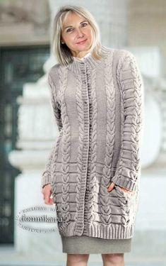 Вязаный кардиган спицами или пальто - 4 женские модели со схемами вязания Sweaters, Dresses, Bob, Fashion, Girls Coats, Vestidos, Moda, Bucket Hat, Pullover