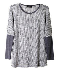Loving this Gray & White Chevron Scoop Neck Top on #zulily! #zulilyfinds