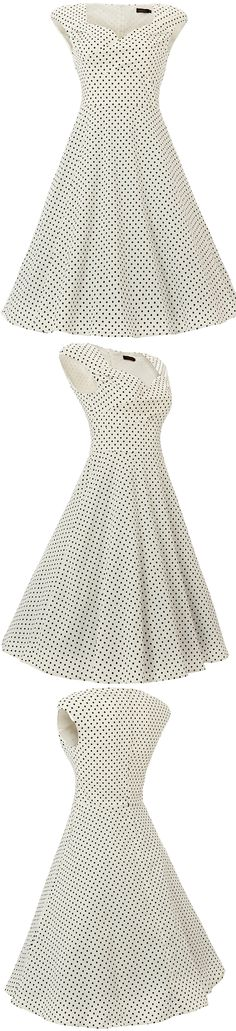 Vianla Women's 1950s Dress Vintage Capshoulder Party Sewing Dresses,Blue 50s Vintage Polka Dots Swing Midi Dress, #White dress #Vintage #1950s