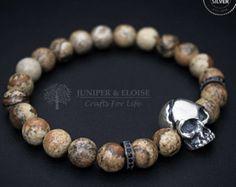 Skull Bracelet, Mens Bracelet, Womens Bracelet, Cracked Skull Bracelet, Masculine Armband, Stretch Bracelet, Jewelry For Men
