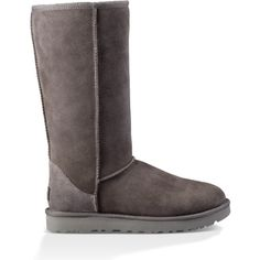 Classic Tall Grey ($200) ❤ liked on Polyvore featuring shoes, boots, ugg footwear, ugg, tall sheepskin boots, grey tall boots and gray shoes
