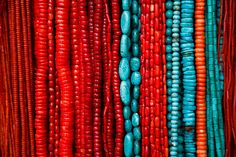colors red and turquoise........love these colors..too bad the hubs hates turquoise so much