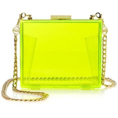 Juicy Couture Lucite Minaudiere (245 BRL) ❤ liked on Polyvore featuring bags, handbags, clutches, purses, accessories, bolsas, neon yellow, yellow purse, man bag and neon purse