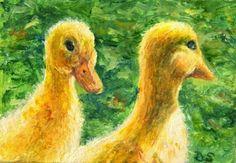 Ducklings Oil Painting Animal Portrait Farm Pets Easter, painting by artist Debra Sisson
