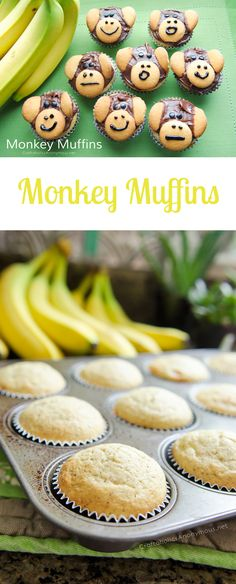 Easy Banana Monkey Muffins idea! Would be super cute for Rainforest themed preschool or kids snack!