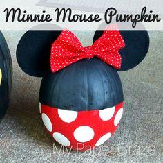 Minnie Mouse Pumpkin by My Paper Craze Disney Halloween, Minnie Maus Halloween, Minnie Mouse Pumpkin, Disney Pumpkin, Toddler Halloween, Halloween Birthday, Minnie Mouse Birthday Ideas, 4th Birthday, Pumpkin Decorating Contest