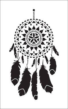 Diy Vinyl Projects, Vinyl Crafts, Stencil Patterns, Stencil Designs, Paar Illustration, Dreamcatcher Design, Dream Catcher Art, Dream Catcher Native American, Custom Stencils