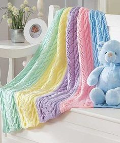 Knitting Pattern for Striped Cables Blanket