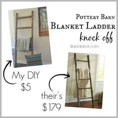 Pottery Barn Projects | $5 Blanket Ladder Knock Off DIY Decor Ideas by DIY Ready at http://diyready.com/diy-projects-pottery-barn-hacks