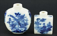 Two Chinese Blue and White Porcelain Snuff Bottles. Lot 165-3122