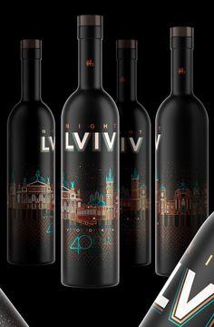 Night Lviv on Behance Beer Packaging, Food Packaging Design, Beverage Packaging, Brand Packaging, Wine Label Design, Bottle Design, Best Sake, Beer Label, Wine And Beer