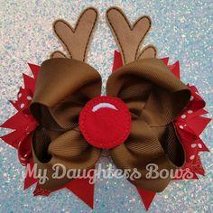 Navidad rojo blanco y brillo Hairbow de por MyDaughtersHairbows