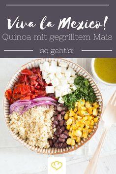 Wer behauptet, dass auf eine richtige Tex-Mex-Party nur Enchiladas, Chili con Carne und Tortillas gehören, der ist noch nicht in den Genuss von diesem köstlichen Salat gekommen. Gegrillter Mais und geröstete Paprika hauchen dem Superfood Quinoa mexikanische Lebensfreude ein.