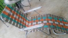 Vintage  Aluminum Webbed Folding Lawn Chaise Lounge Chair Beach Patio 3
