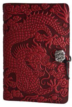 Leather Journal Cover   Cloud Dragon   $60-$76   3 Color Choices   Oberon Design